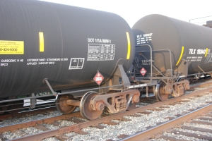 Unsafe DOT-111 oil tank cars lined up on Second St. in Davis.  1287 indicates Petroleum distillates rather than crude oil, but still hazard level 3, highly flammable.  Photo by Richard McAdam