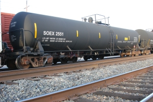 Oil Tank cars on 2nd St. in Davis on Jan. 9, 2014.  #1286 means petroleum distillates classified at level 3, highly flammable liquid,  same category as crude oil.