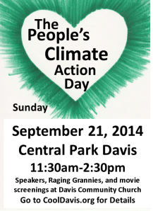 The green heart is the symbol for the People's Climate March in New York City.  If you can't travel there, come to Central Park in Davis on Sept. 21.