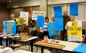 Davis activists make signs opposing fracking and crude-by-rail transport for the Climate March on Feb. 7th in Oakland.