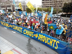8000 Californians marched through the streets of Governor Browns home town of Oakland reminding him that climate leaders don't frack.