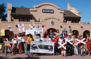 30 Protesters began at the train station.  Stop oil trains.